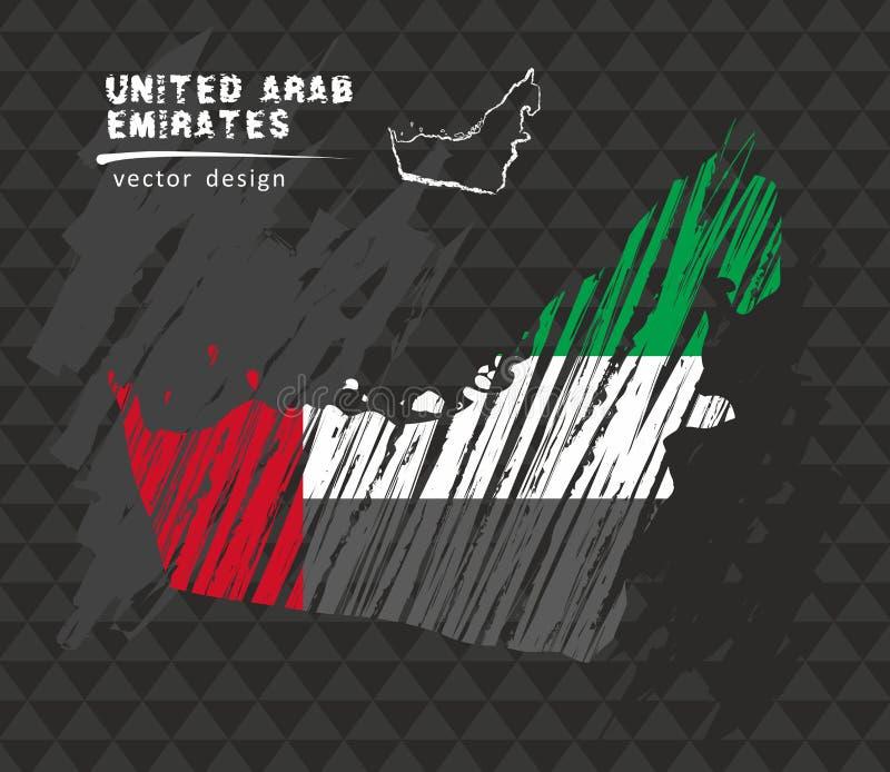 De verenigde Arabische kaart van Emiraten met vlag binnen op de zwarte achtergrond De vectorillustratie van de krijtschets royalty-vrije illustratie