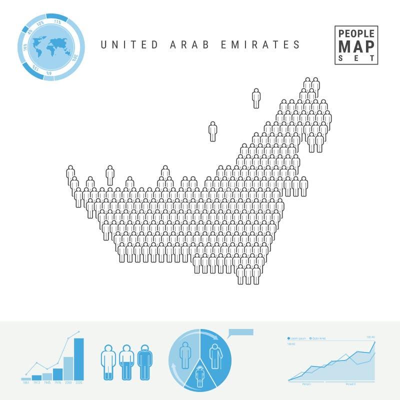 De verenigde Arabische Kaart van het de Mensenpictogram van Emiraten Gestileerd Vectorsilhouet van de V.A.E Bevolkingstoename en  stock illustratie