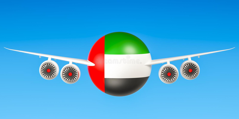 De verenigde Arabische luchtvaartlijnen en flying& x27 van Emiraten; s, vluchten aan conce van de V.A.E vector illustratie