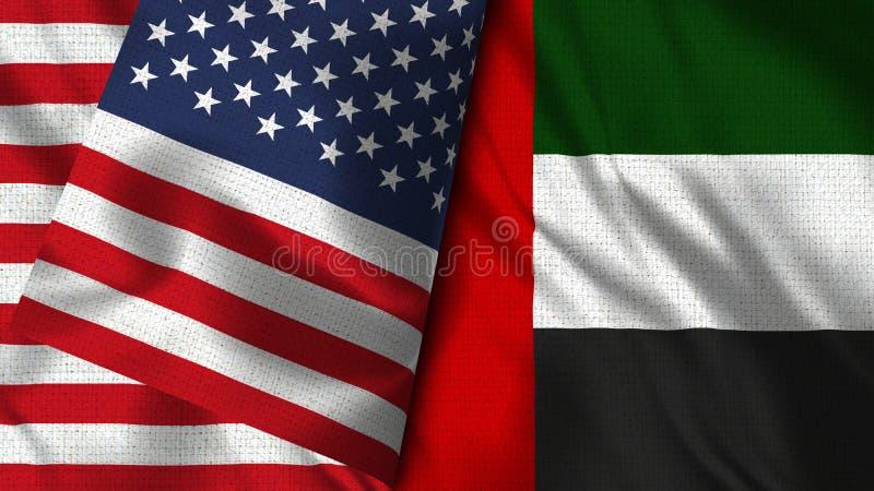 De verenigde Arabische Vlag van Emiraten en van de V.S. - 3D illustratie Twee Vlag stock illustratie