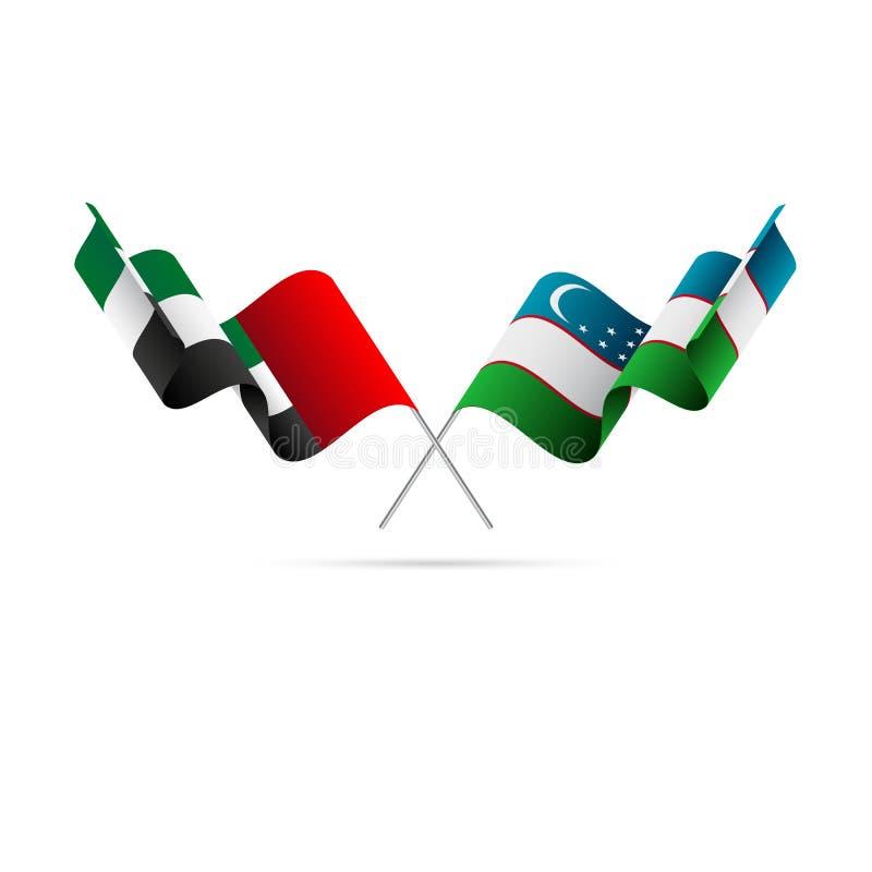 De verenigde Arabische vlaggen van Emiraten en van Oezbekistan Vector illustratie vector illustratie
