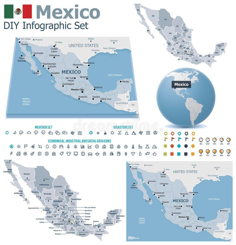 De verenigde Mexicaanse kaarten van Staten met tellers stock illustratie