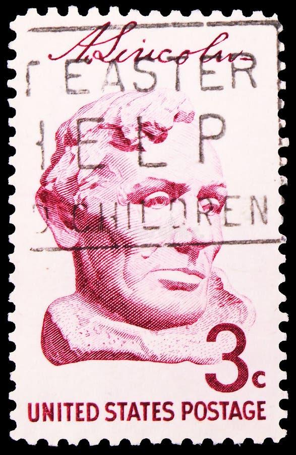 In de Verenigde Staten gedrukt postzegel toont Lincoln door Gutzon Borglum, Lincoln Sesquicentennial Issue serie, circa 1959 royalty-vrije stock afbeeldingen