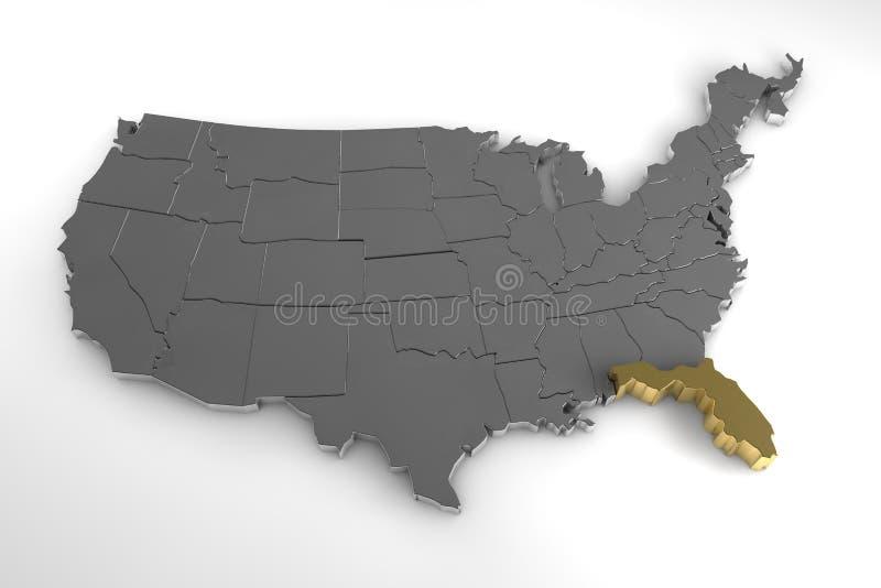 De Verenigde Staten van Amerika, 3d metaalkaart, met benadrukte de staat van Florida vector illustratie