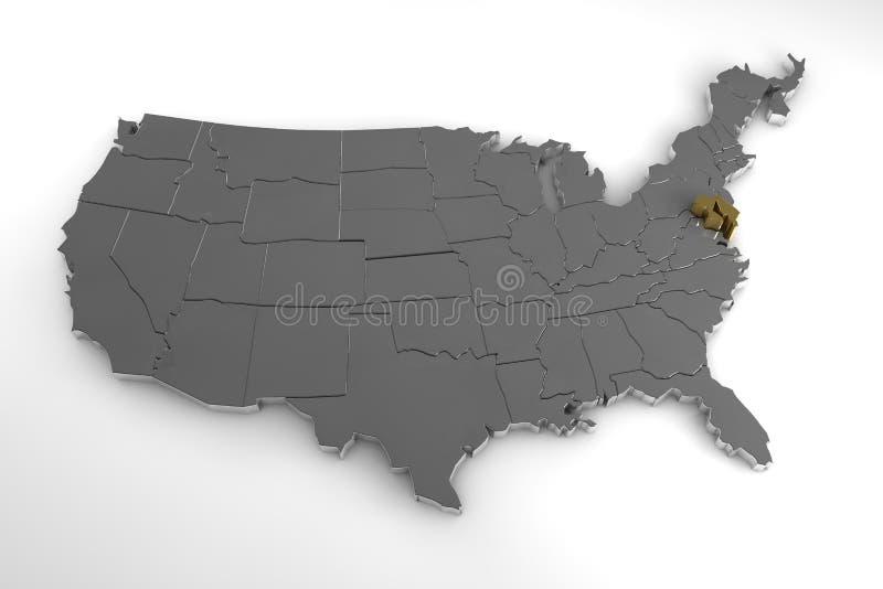 De Verenigde Staten van Amerika, 3d metaalkaart, met benadrukte de staat van Maryland vector illustratie