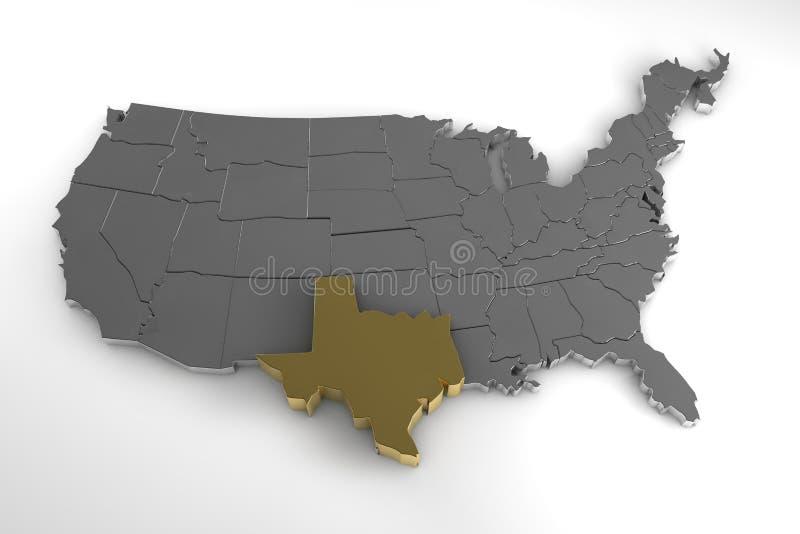 De Verenigde Staten van Amerika, 3d metaalkaart, met benadrukte de staat van Texas royalty-vrije illustratie