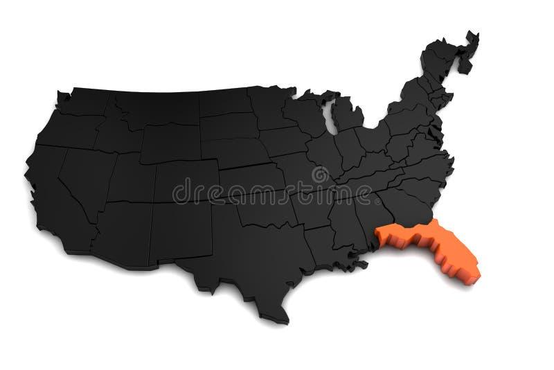 De Verenigde Staten van Amerika, 3d zwarte die kaart, met de staat van Florida in sinaasappel wordt benadrukt stock illustratie