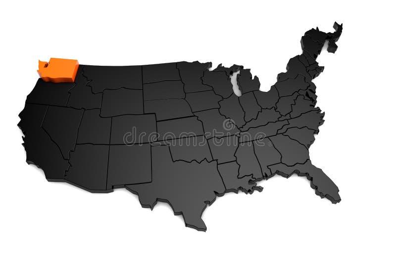De Verenigde Staten van Amerika, 3d zwarte die kaart, met de staat van Washington in sinaasappel wordt benadrukt stock illustratie