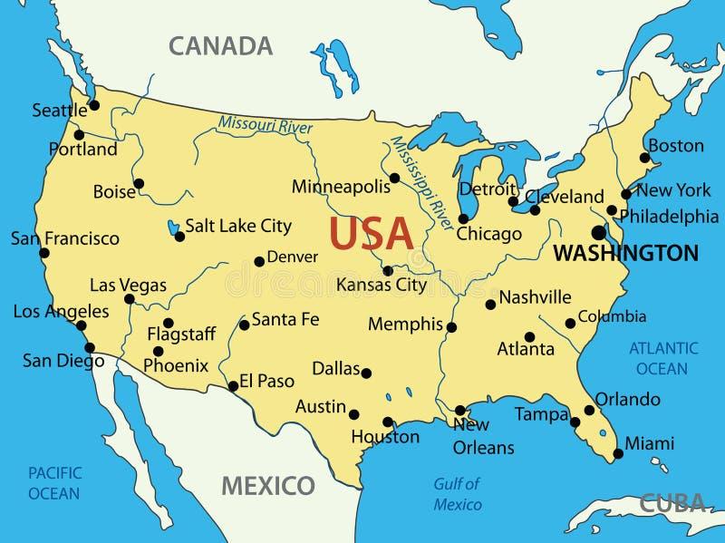 De Verenigde Staten van Amerika - kaart royalty-vrije stock foto's