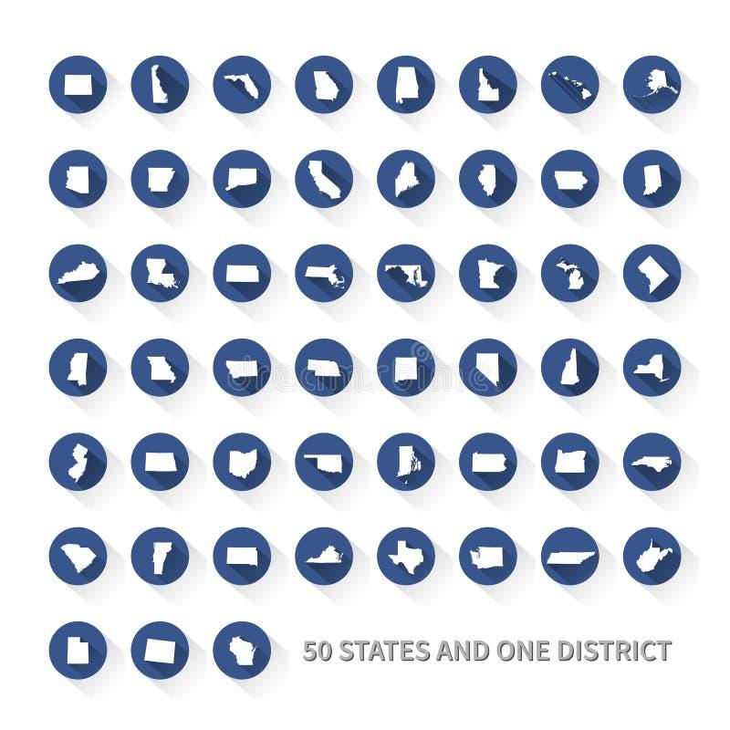 De Verenigde Staten van Amerika 50 staten en 1 federaal district De V.S. st stock illustratie