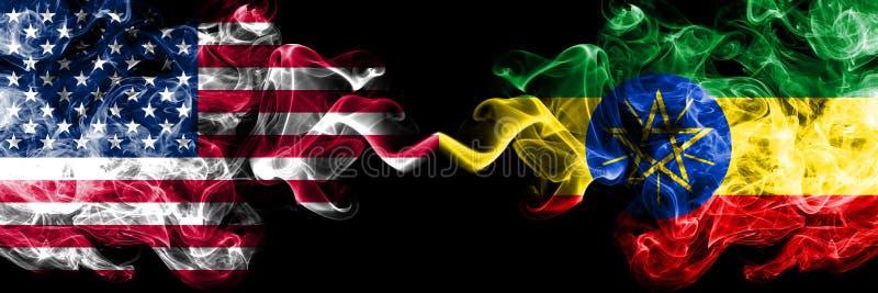 De Verenigde Staten van Amerika versus Ethiopië, Ethiopische rokerige zij aan zij geplaatste mysticusvlaggen Dik gekleurde zijde stock illustratie