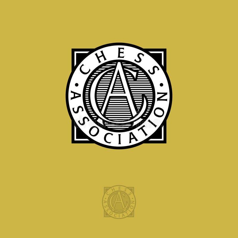De Verenigingsembleem van het wereldschaak A en c-brieven Zwart-wit embleem op een gele achtergrond royalty-vrije illustratie