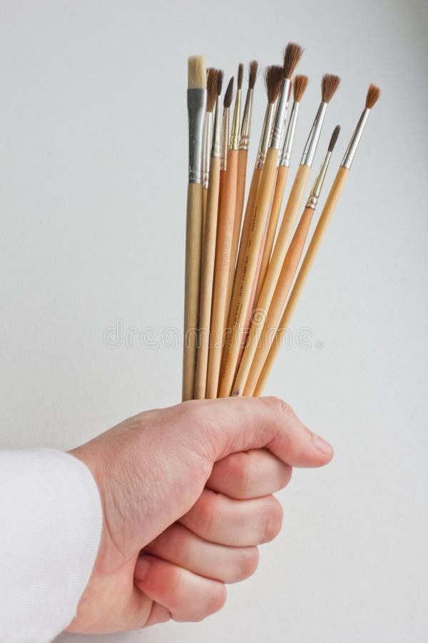 De verf borstelt ter beschikking Kunstenaar Brushes royalty-vrije stock afbeelding
