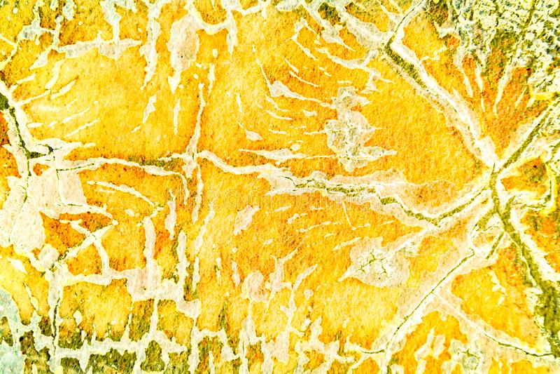 De verf gele en bruine abstracte achtergrond van de Grungemuur stock foto's