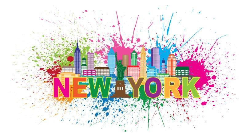 De Verf van de de Stadshorizon van New York ploetert Illustratie royalty-vrije illustratie