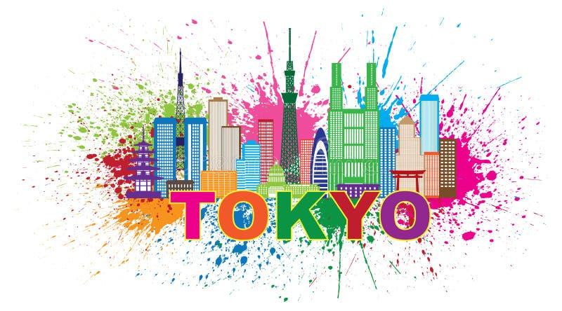 De Verf van de de Stadshorizon van Tokyo ploetert Illustratie vector illustratie