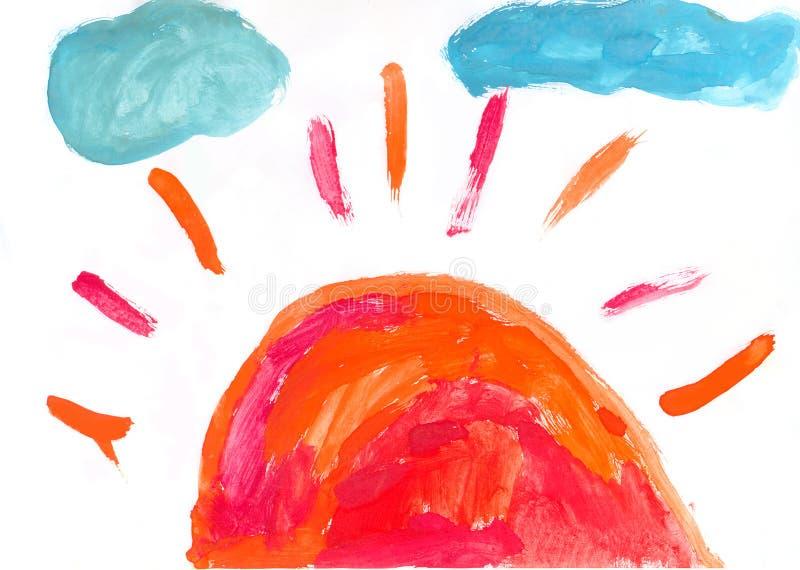 De verf van de waterverf door een Kind stock illustratie