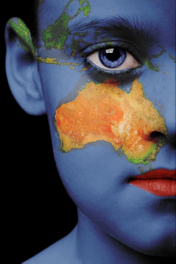 De verf van het gezicht - Australië stock afbeelding