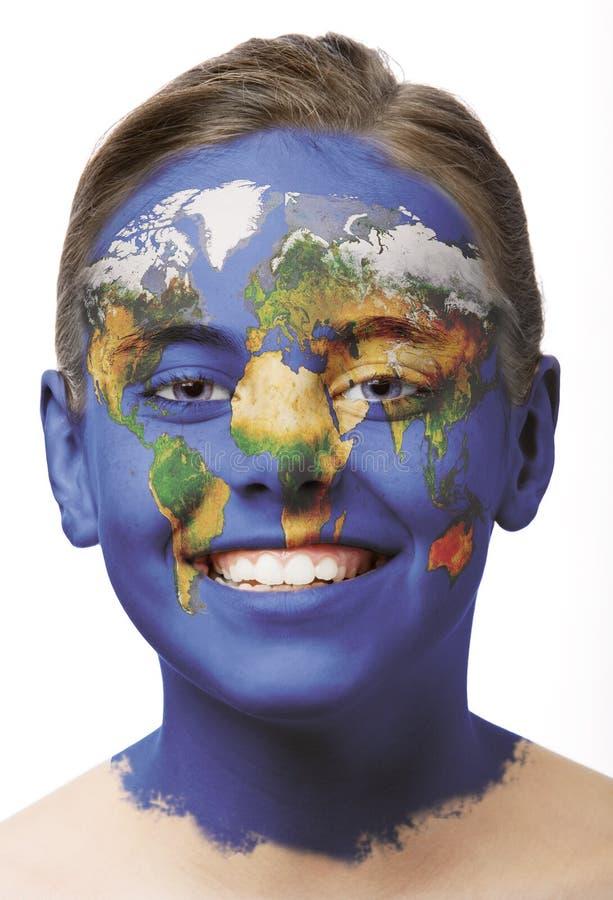 De verf van het gezicht - wereldkaart stock foto's