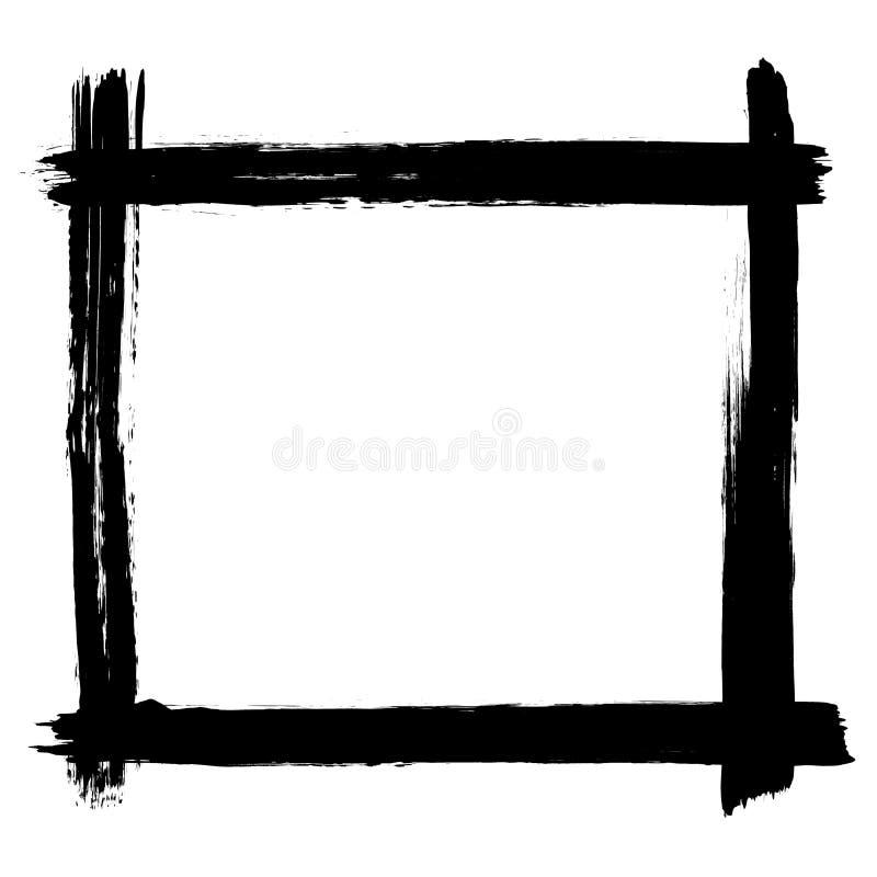 De verfborstel strijkt grunge zwarte kader of grens royalty-vrije illustratie