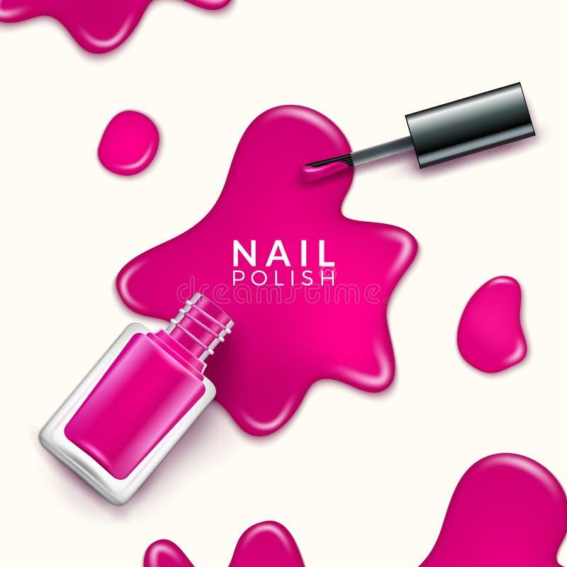 De verfdaling van de nagellakschoonheid Kosmetische het poetsmiddelspijker van de flessenmake-up of manicureontwerp royalty-vrije illustratie
