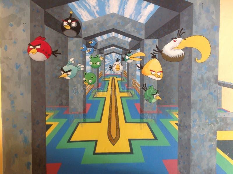 De verfmuur van de Angrybirdkunst royalty-vrije stock fotografie