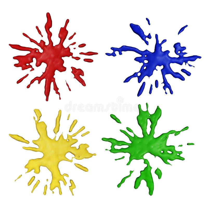 De verfplonsen van de kleur vector illustratie
