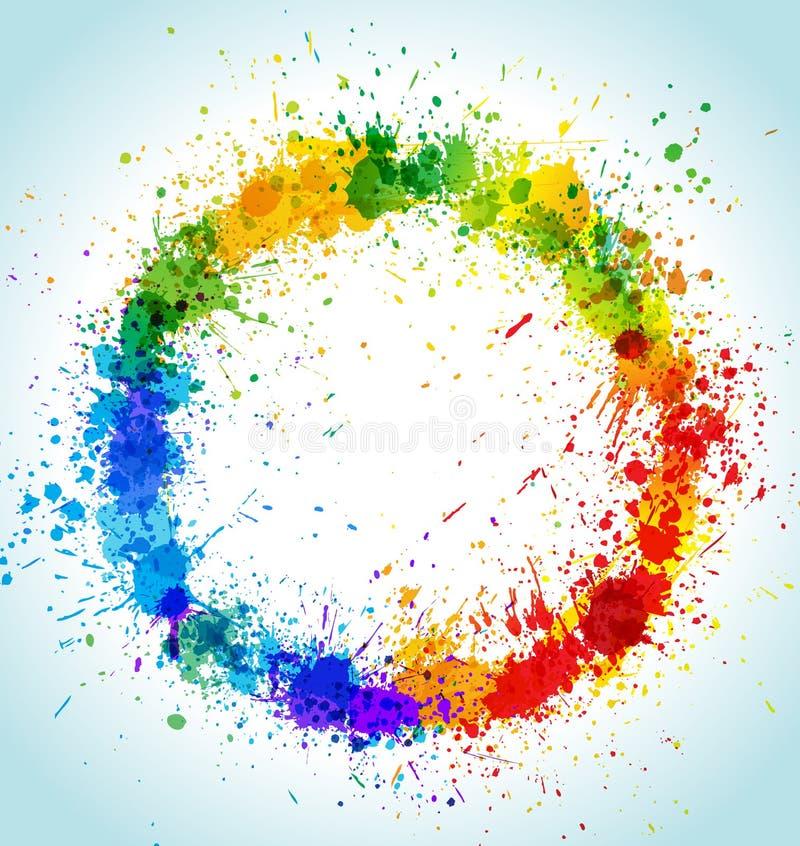 De verfplonsen van de kleur om achtergrond royalty-vrije illustratie