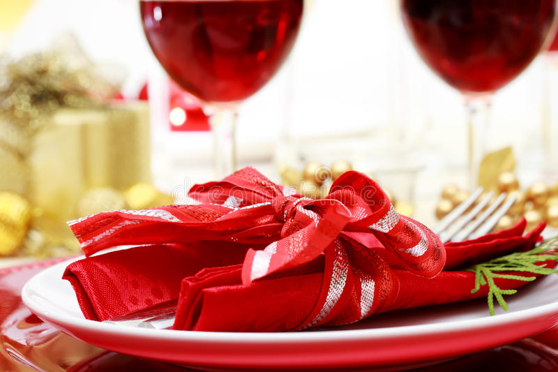 De verfraaide Lijst van het Kerstmisdiner stock afbeelding