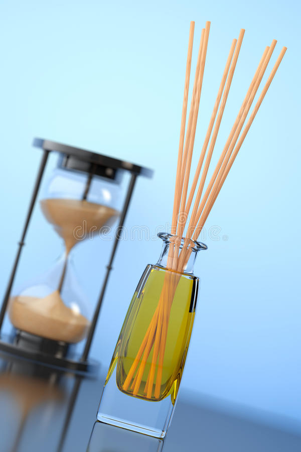 De Verfrissing van de Aromatherapylucht met Zandzandloper het 3d teruggeven stock illustratie