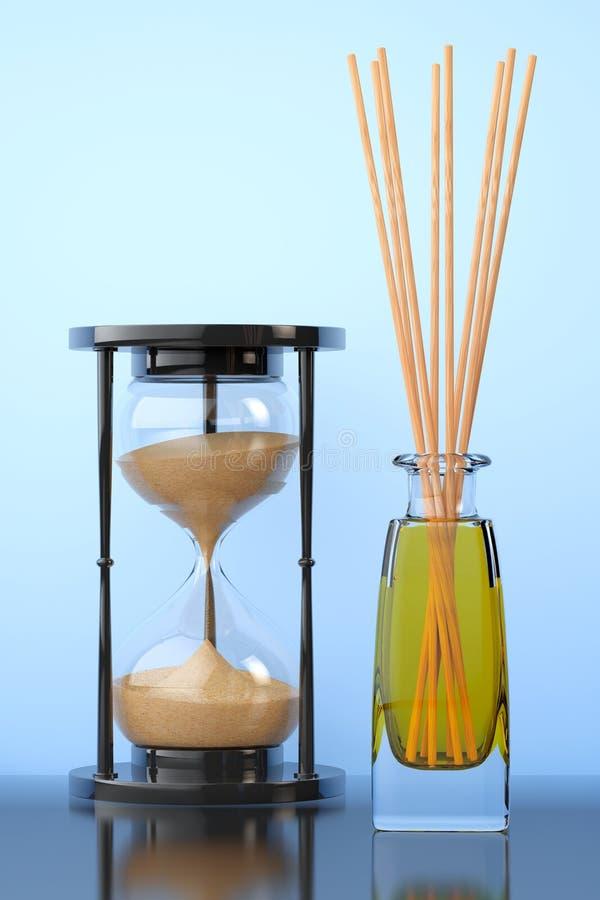 De Verfrissing van de Aromatherapylucht met Zandzandloper het 3d teruggeven vector illustratie