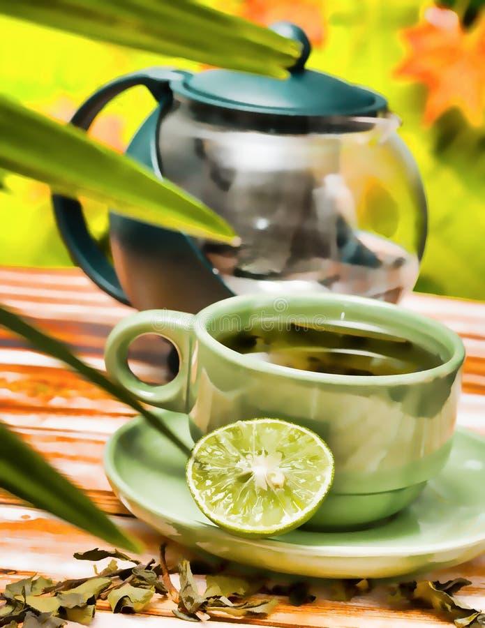 De Verfrissing van de kalkthee vertegenwoordigt Cafetaria'srestaurant en Koffie royalty-vrije stock afbeeldingen