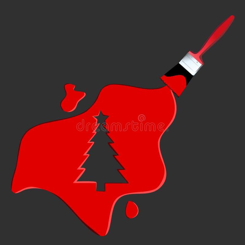 De verfVector van de kerstboom royalty-vrije illustratie