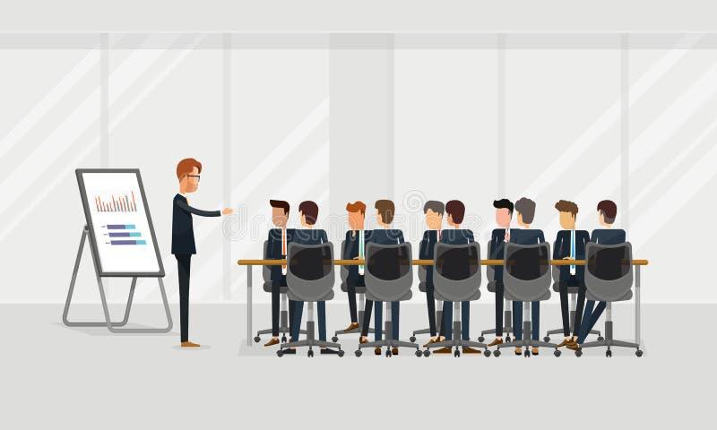 De vergadering groeps van het bedrijfsmensengroepswerk en uitwisselings van ideeënconcept groeps bedrijfspresentatie op team vector illustratie