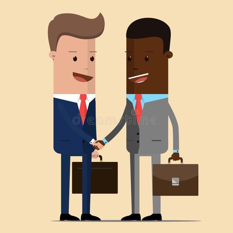 De vergadering van twee zakenlieden en bedrijfshanddruk vergadering van de twee politici, diplomaten, partners of de vrienden die vector illustratie