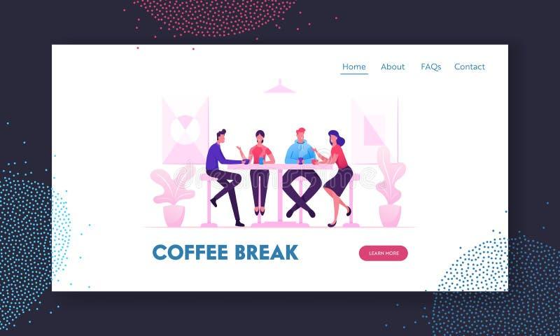 De Vergadering van vrienden in de Portaalpagina van de Website van Cafe of van de Bar Bedrijf met jongeren met koffie of maaltijd royalty-vrije illustratie