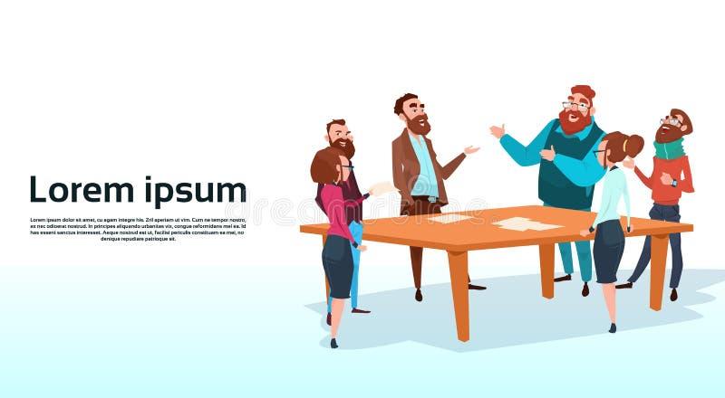 De Vergaderingszakenlui die van de bedrijfsmensengroep Besprekend Mededeling spreken vector illustratie
