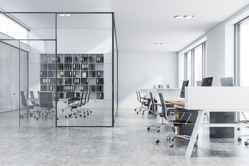 De vergaderzaal van de glasmuur in wit open plekbureau stock illustratie