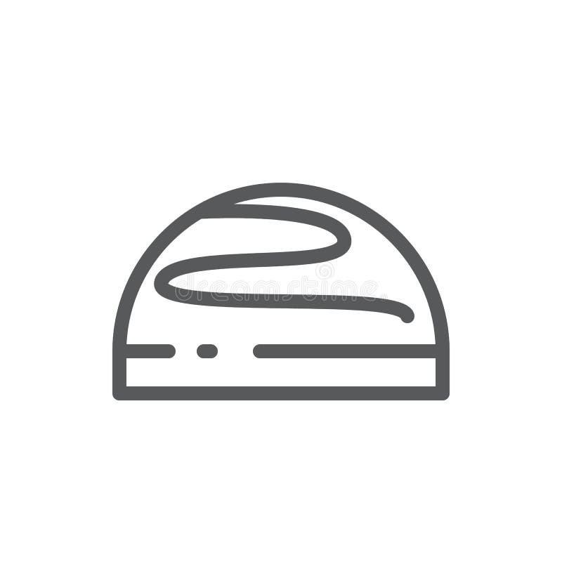 De verglaasde vectorillustratie van het koekjes editable pictogram - dun lijnpictogram van geheel zoet gebakken koekje met suiker royalty-vrije illustratie