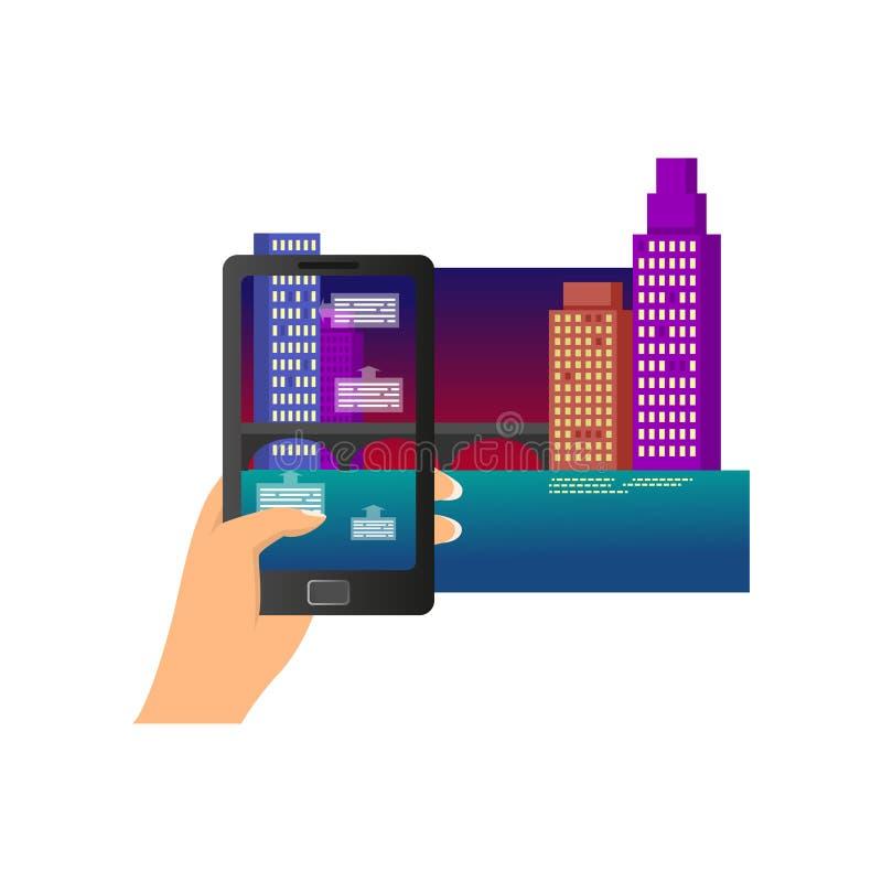 De vergrote beschrijving van de de stadsnacht van werkelijkheids moderne smartphone royalty-vrije illustratie