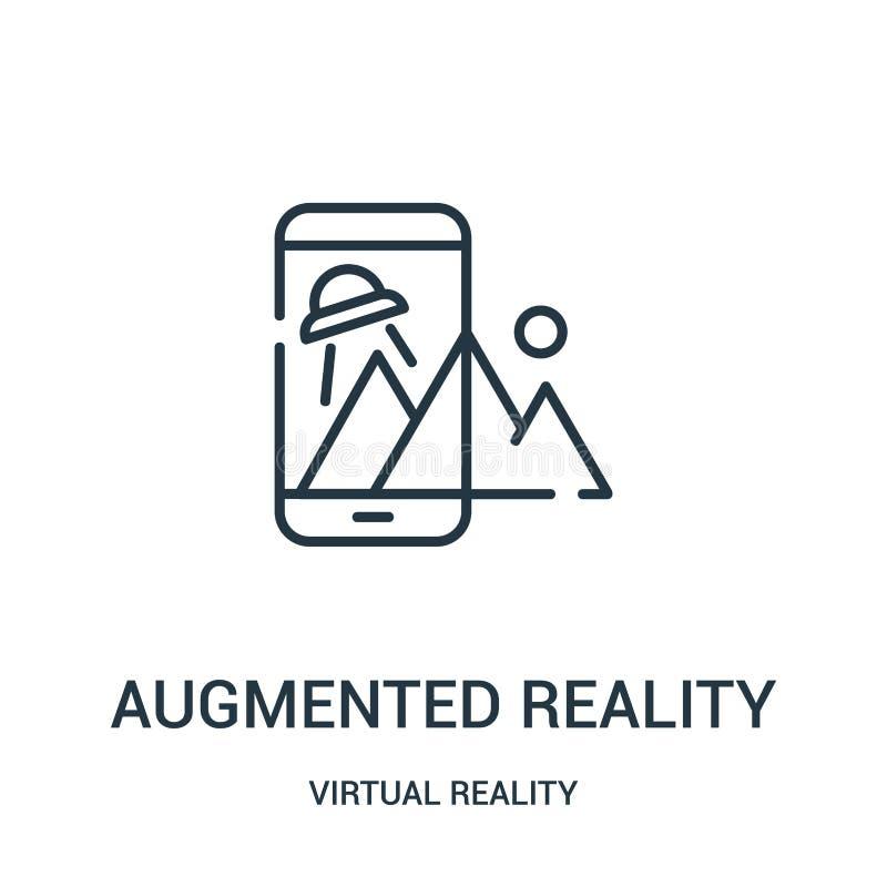 de vergrote vector van het werkelijkheidspictogram van virtuele werkelijkheidsinzameling De dunne lijn vergrootte het pictogram v vector illustratie