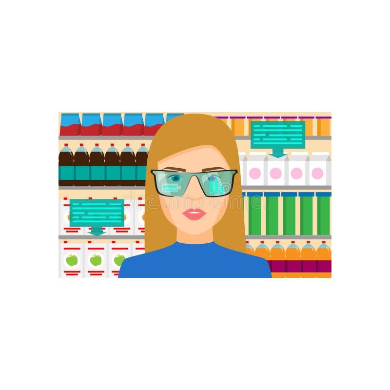 De vergrote werkelijkheid toont informatie over het product van de marktwinkel vector illustratie