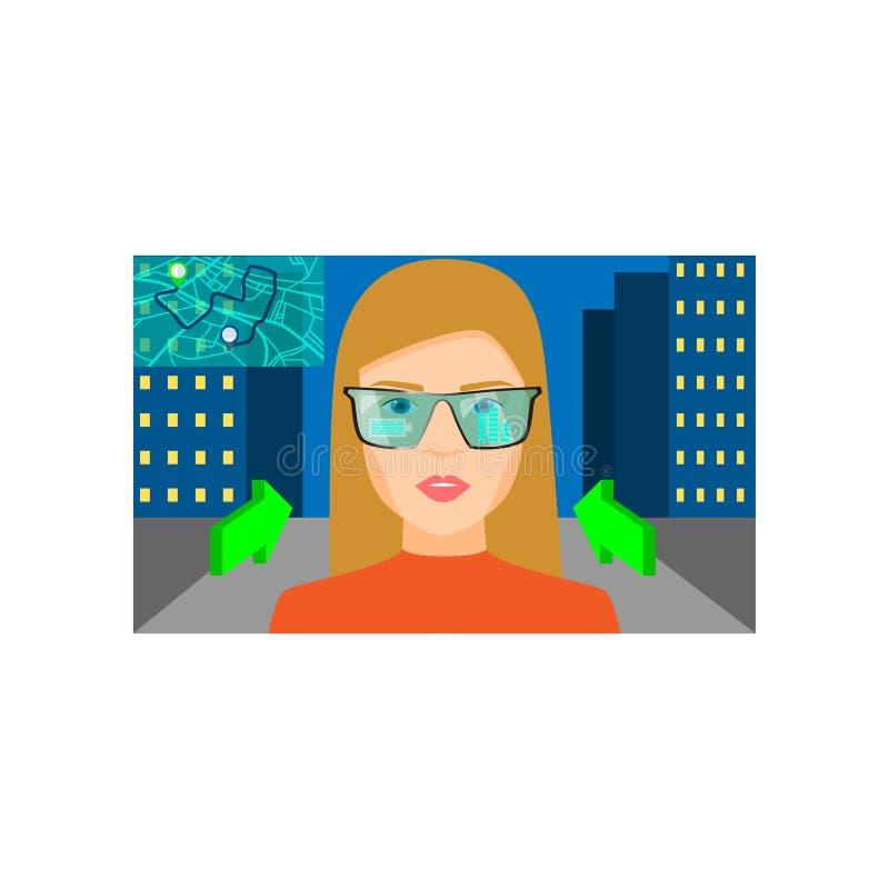 De vergrote werkelijkheidsglazen toont stadsnacht beste route stock illustratie