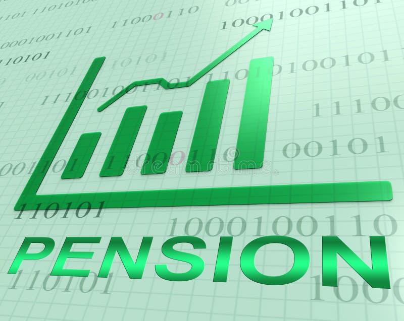 De Verhoging van de pensioengrafiek toont Pensioneringsgeld het 3d Teruggeven vector illustratie