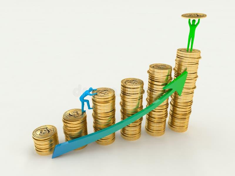 De verhoging van winst, opbrengst. vector illustratie