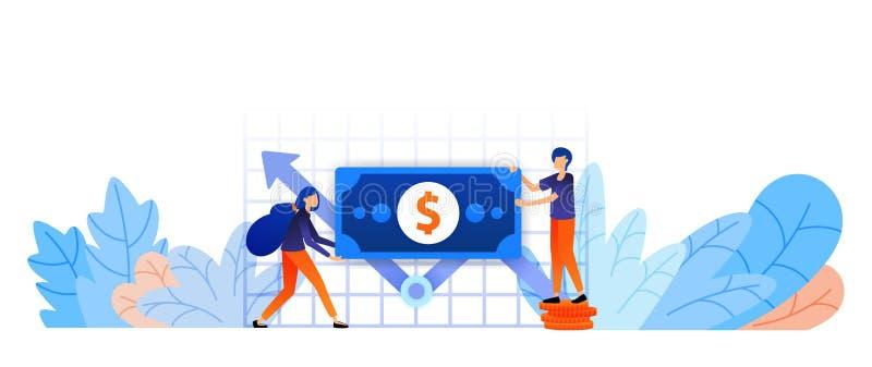 De verhogingsgroei van activa om doel te bereiken analyse van hoofdprestatiesrapport om te bepalen spel en ambacht bedrijfsvector royalty-vrije illustratie