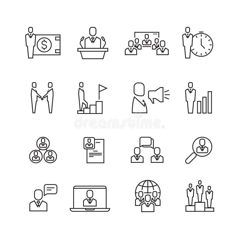 De verhouding van het bedrijfsmensenteam, de menselijke vector geplaatste pictogrammen van de beheers dunne lijn stock illustratie