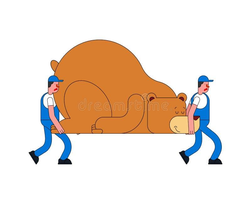 De verhuizers en dragen De portiers dragen Groot dier De dienst van de levering Loa stock illustratie