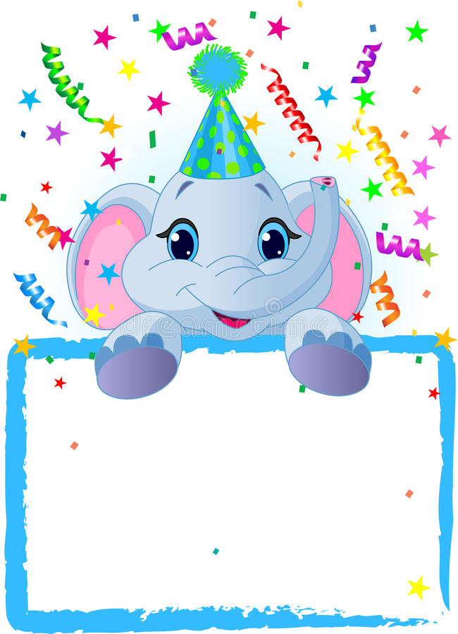 De Verjaardag van de Olifant van de baby vector illustratie