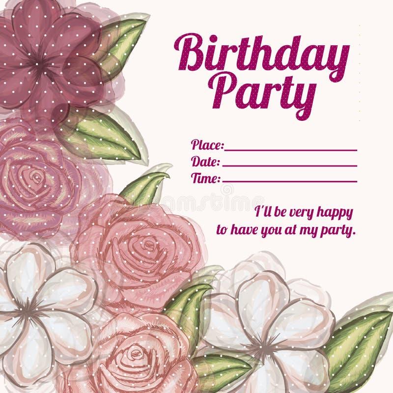 De verjaardag van de rozenuitnodiging royalty-vrije illustratie